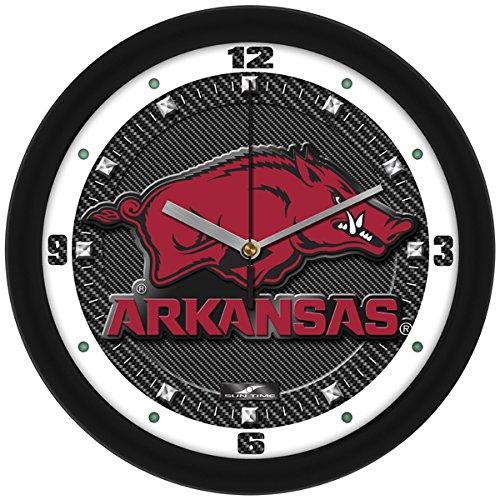 NCAA Arkansas Razorbacks Textured Carbon Fiber Wall Clock - Arkansas Razorbacks Clock