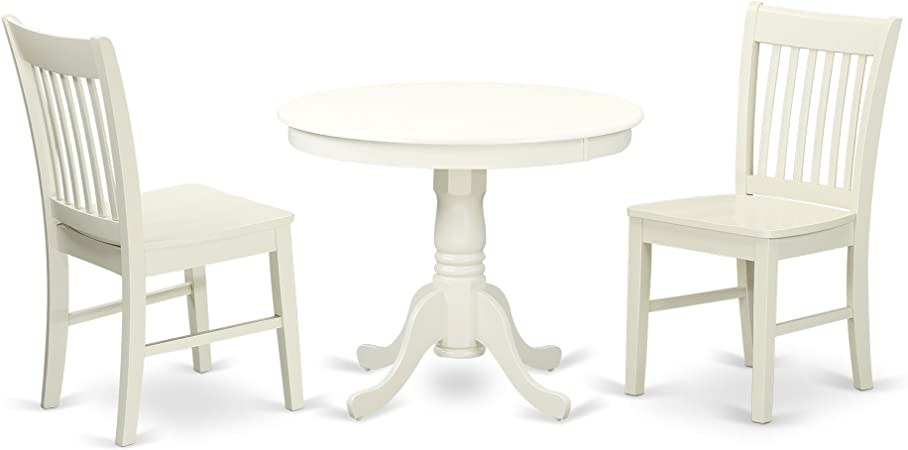 East West Furniture Room Set 2 Wonderful Dining Chairs A Lovely Round Wooden Seat And Linen White Wood Kitchen Table Furniture Decor