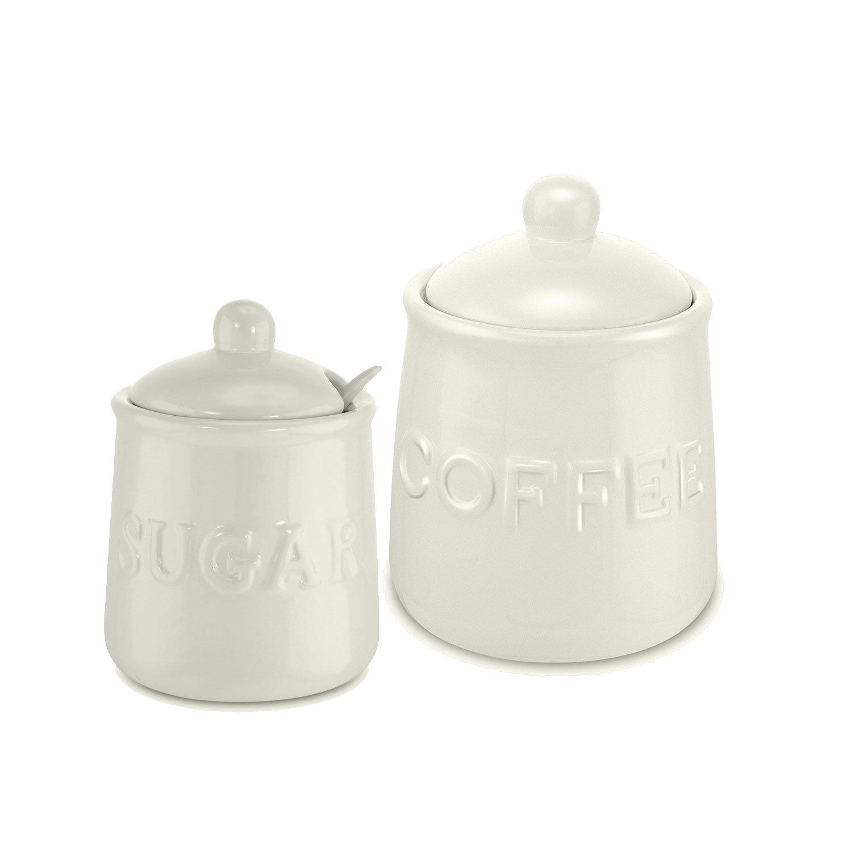 KOVOT Ceramic Coffee and Sugar Set - Includes 12 oz Sugar Jar & 20 oz Coffee Jar