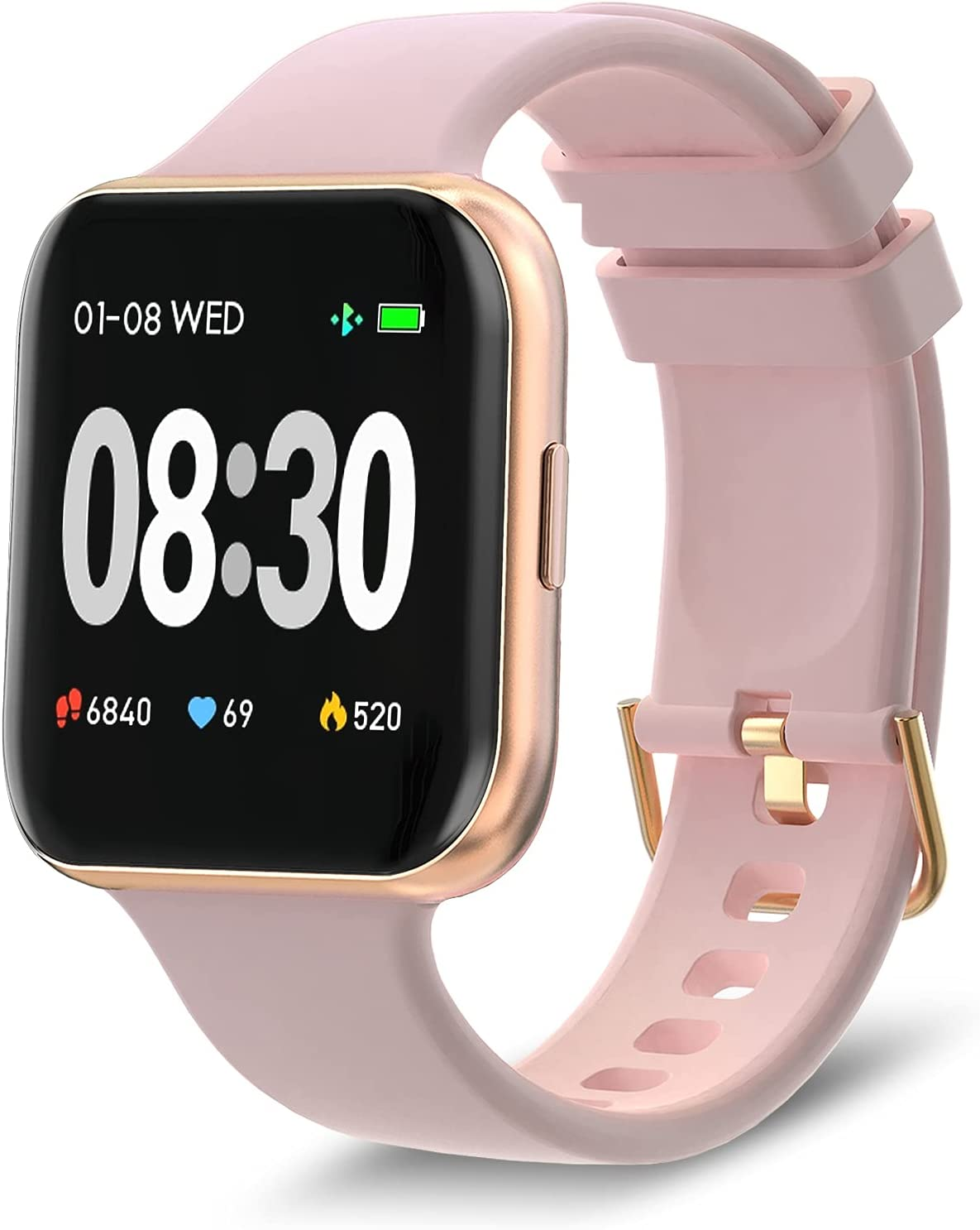 BRIBEJAT Smart Watch for Womens 39mm with 1.4 Inch Touchscreen Heart Rate Sleep Monitor Workout Metrics Call Message Alert Compatible with iPhone Samsung Android Phone Rose Gold