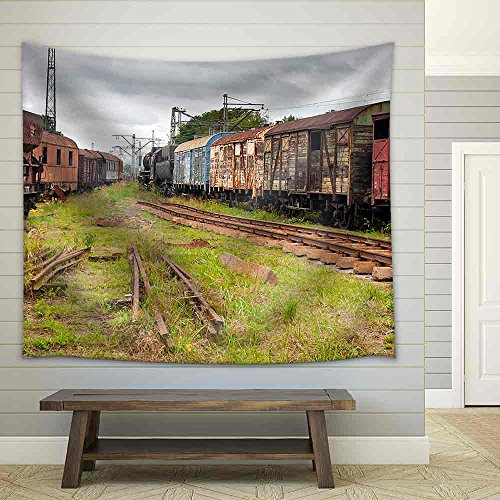 Abandoned Old Railway Wagons at Station Fabric Wall Tapestry