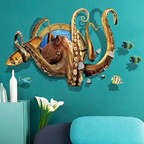 Cheap  Amaonm Creative 3D Nursery Wall Decals 3D Deep Sea Scenery Octopus Through..
