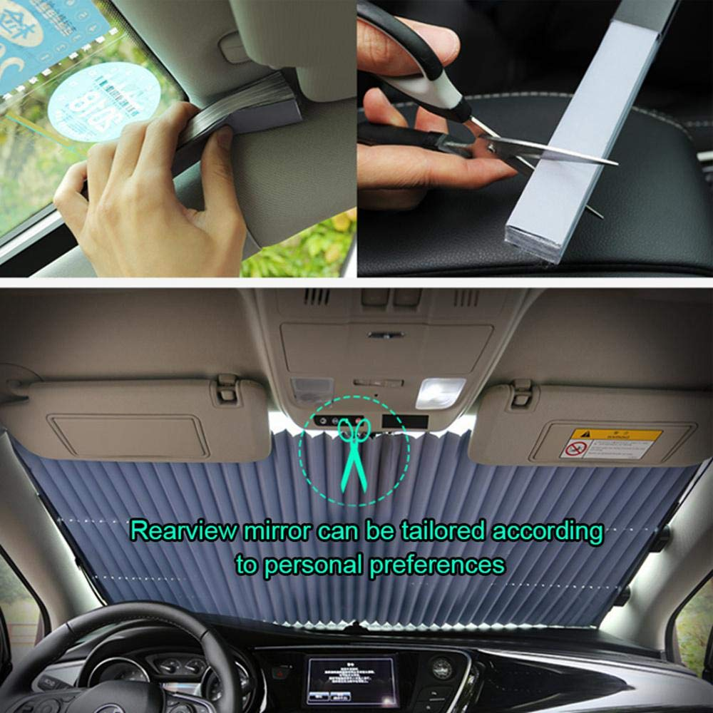 Automatic Retractable Foldable Dust Cover Sun Shade For Almost All Cars Anti UV Retractable Car Cooling Sunshade Womdee Flexible Car Windscreen Sunshade