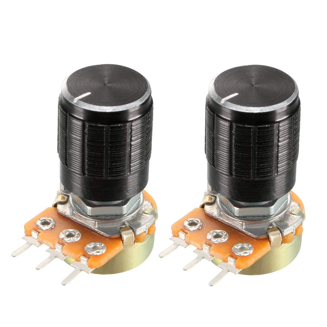 sourcing map WH148 1Pcs 1K Ohm Variable Resistors Single Turn Rotary Carbon Film Taper Potentiometer with Knobs