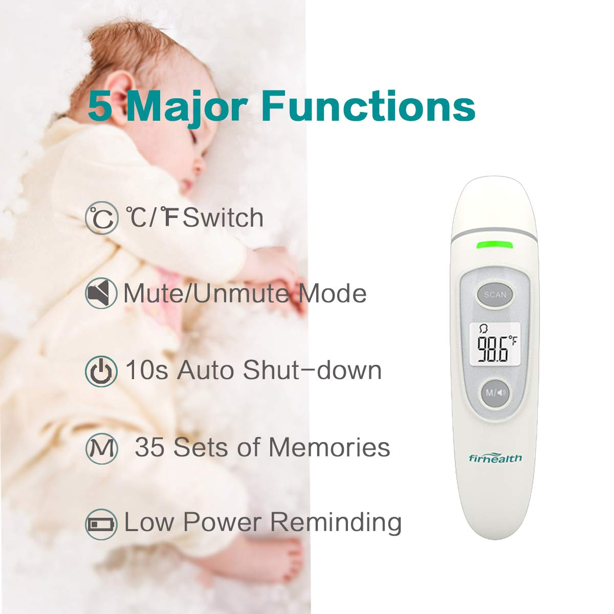 Digital Infrared Baby Thermometer, Firhealth Ear Forehead Object Room Professional 4 in 1, Accurate Fever Indicator Instant Read,Suitable for Baby, Adult, Object and Ambient, FDA CE Approved by FIRHEALTH (Image #3)