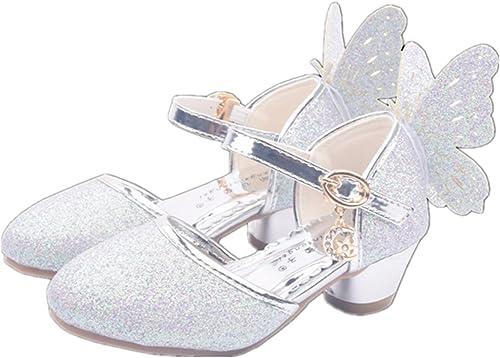YOGLY Sandales Ceremonie Fille, Chaussure à Talon Enfant Ballerine Princesse avec Ailes Paillettes comme Une Angle