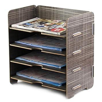 Schreibtisch Organizer A5 Holzfaser Aufbewahrungsbox Mit 4 Fachern