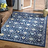 Safavieh Evoke Collection EVK210A Contemporary Royal Blue and Ivory Area Rug (4' x 6')