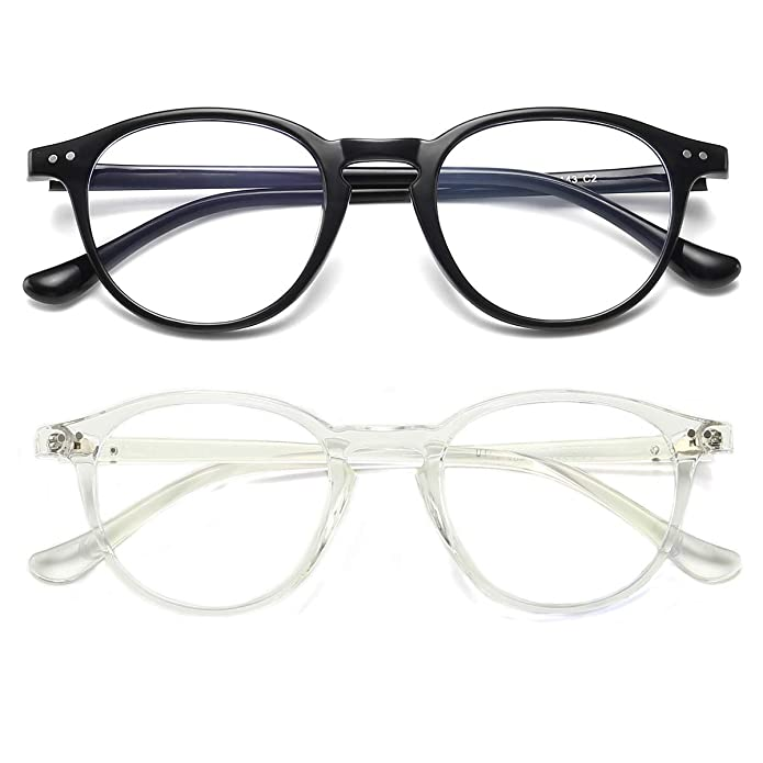 Blue Light Blocking Glasses Vintage Round Frame Eyeglasses for Women Men 2 Pack Transparent and Black