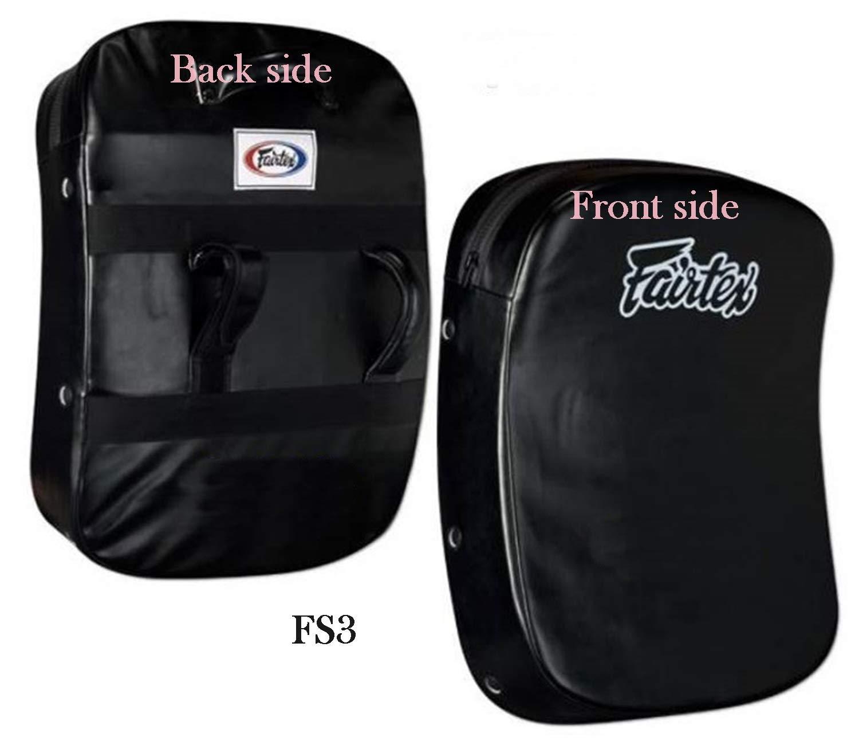 Fairtex キックシールド カーブしたタイ ボクシングパッド FS3 ミット ブラックトレーニング ムエタイ キックボクシング MMA K1 (片面販売)
