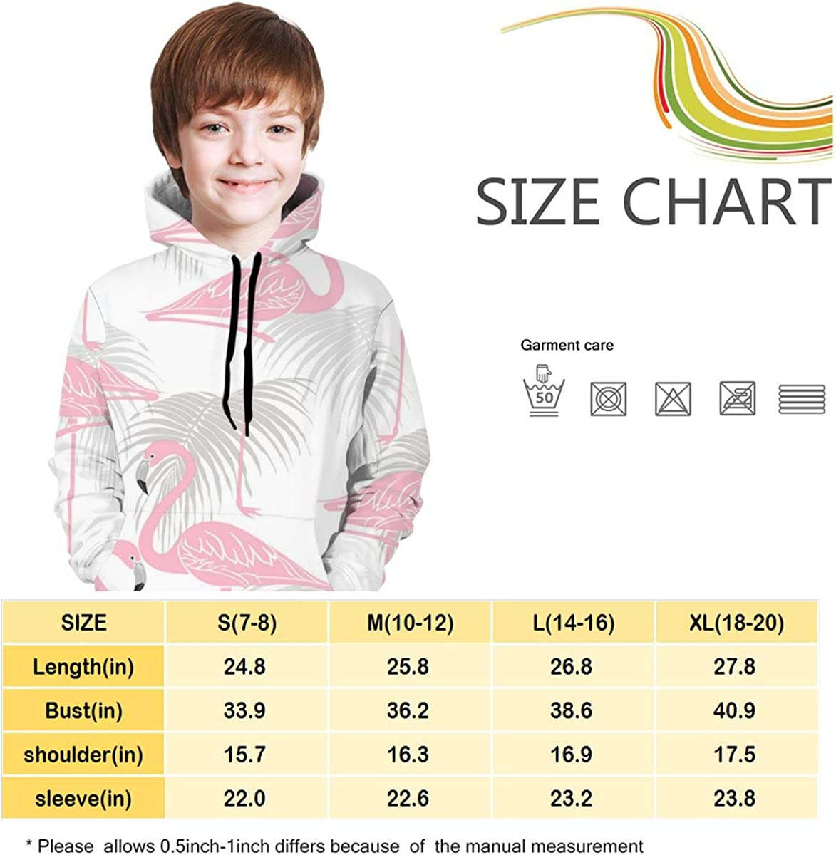 Pink Flamingo Kid Hooded Sweate Pullover Drawstring Pocket Windproof Sweat Shirt for Children