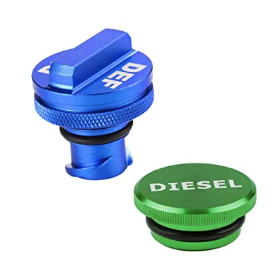 Henzxi Dodge Fuel System Cap Magnetic Ram Diesel Billet Aluminum Green Fuel Cap and Non-magnetic Blue DEF Cap Combo Pack for 2013-2020 Dodge Ram Truck 1500 2500 3500: Automotive