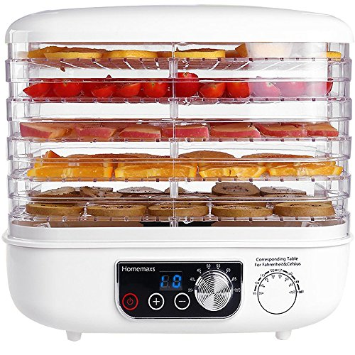 Food Dehydrator, Homemaxs Electric Fruit Dehydrator with 95ºF to 158ºF Digital Temperature Settings and 72-hour Timer Automatic Shut Off, Adjustable Space, Noiseless and BPA Free, 5 Stackable Trays