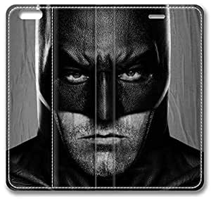 """Batman V Superman Dawn Of Justice 2016 Ben Affleck iPhone 6 Case, Leather Cover for iPhone 6 (4.7"""") Premium Soft PU Leather Wallet Cover - Verizon, AT&T, Sprint, T-Mobile, International, and Unlocked with Black PC Hard Case Inside for iPhone 6 by iCustomonline by mcsharks"""