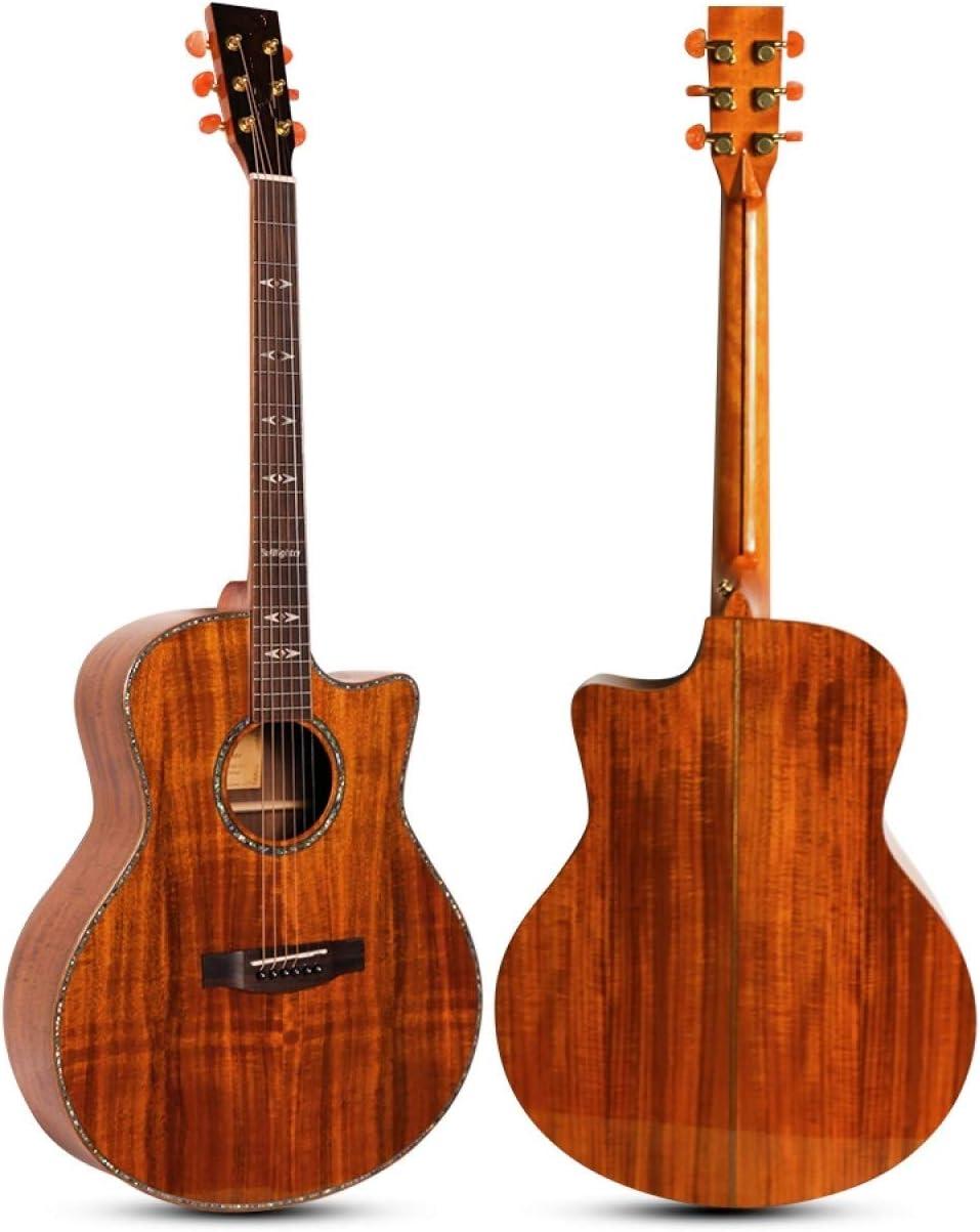 LOIKHGV Guitarras- Guitarra acústica de Gama Alta de 41 Pulgadas con Tapa sólida de Acacia mangium, como se Muestra