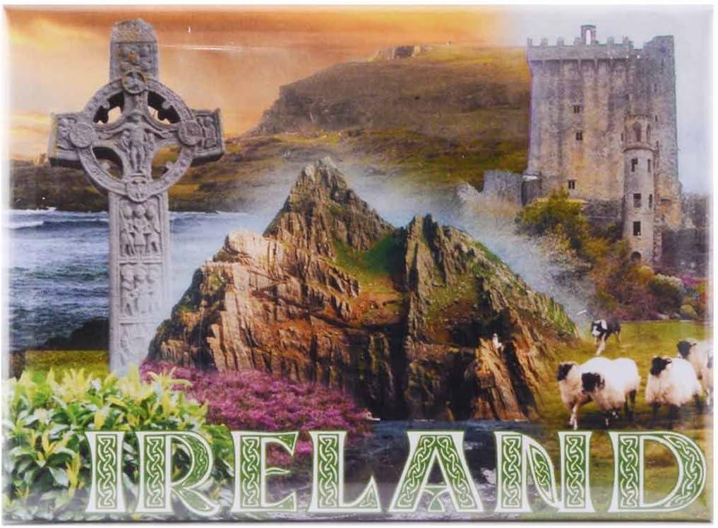 Ireland Magnet with Blarney Castle, Celtic Cross and Irish Sheep Design