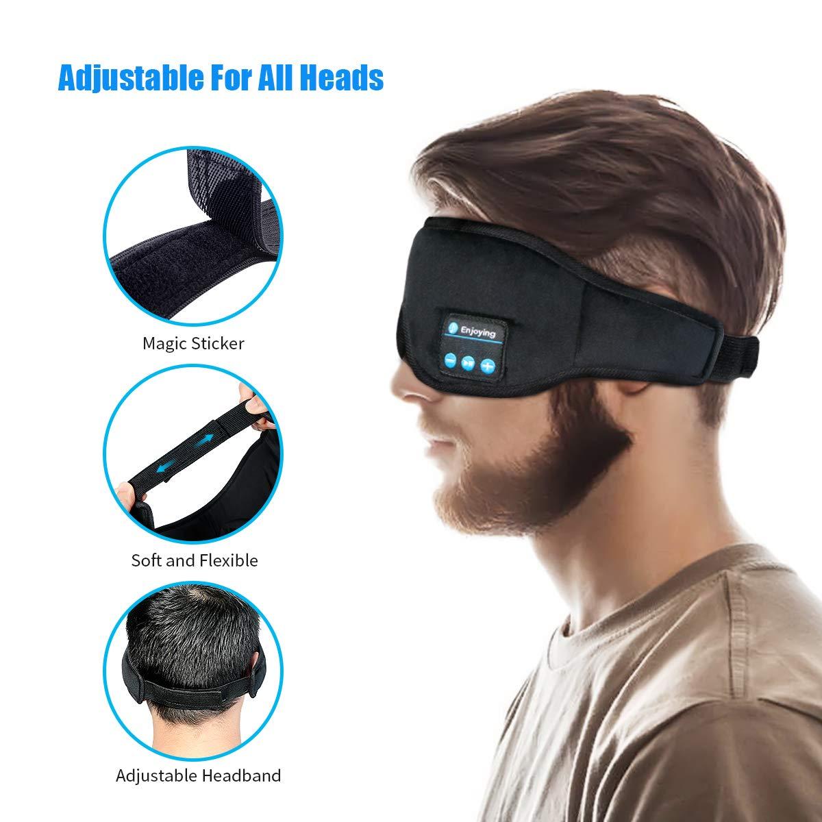 Upgraded Bluetooth Eye Mask Sleep Headphones,WU-MINGLU Wireless Music Silk Eye Cover Sleeping Mask Headphones Built -in Speakers Microphone Handsfree Adjustable and Washable