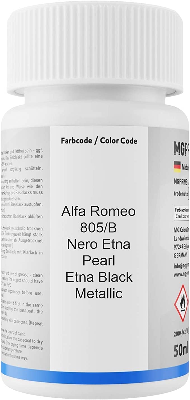 Mg Prime Autolack Lackstift Set Für Alfa Romeo 805 B Nero Etna Pearl Etna Black Metallic Basislack Klarlack Je 50ml Auto