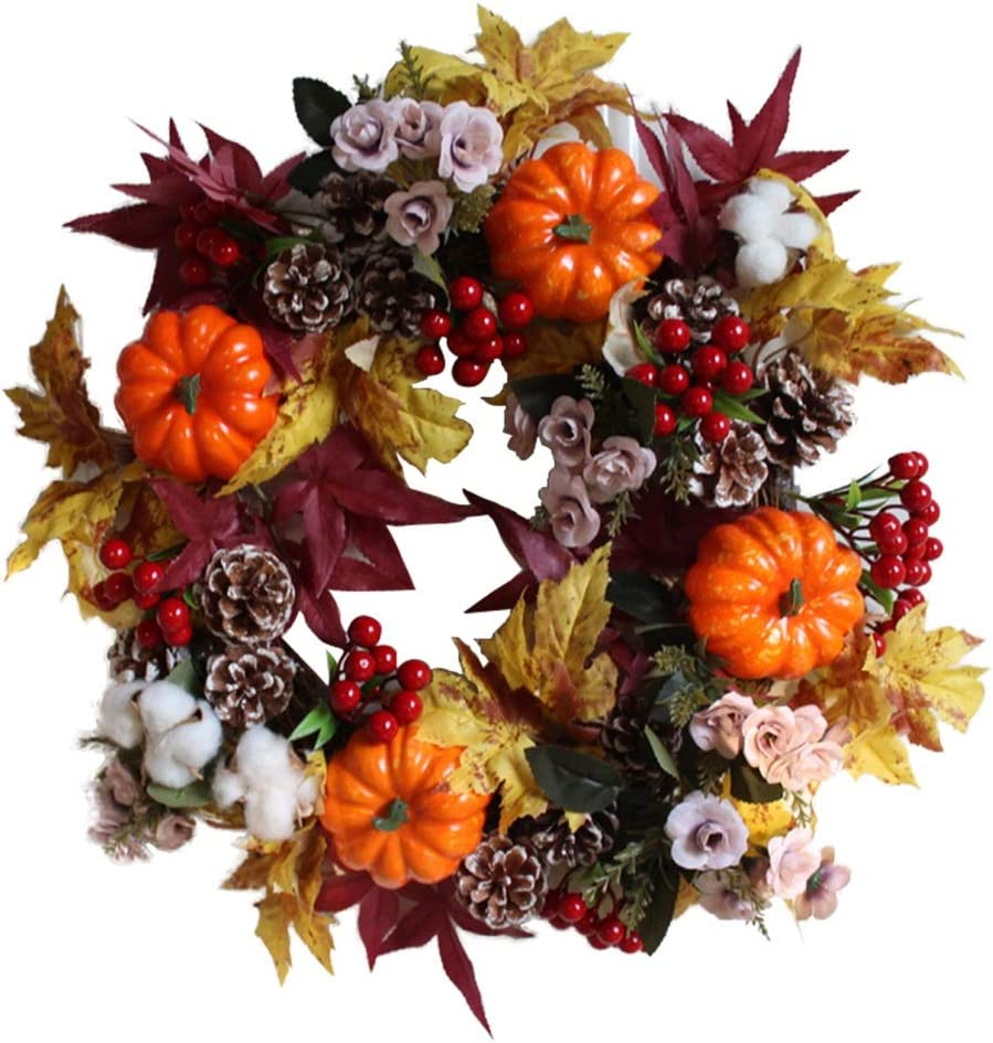 ROZKITCH Pumpkin Harvest Silk Fall Front Door Wreath 17 Inches - Brightens Front Door Decor with Rich Fall Colors, Approved for Covered Outdoor Use for Thanksgiving