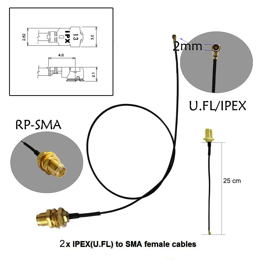 2 x 3dBi 2.4GHz 5GHz Dual Band WiFi RP-SMA Antenna 2 x 35cm U.fl//IPEX Cable for Wireless Routers Mini PCIe Cards Network Extension Bulkhead Pigtail PCI WiFi WAN Repeater