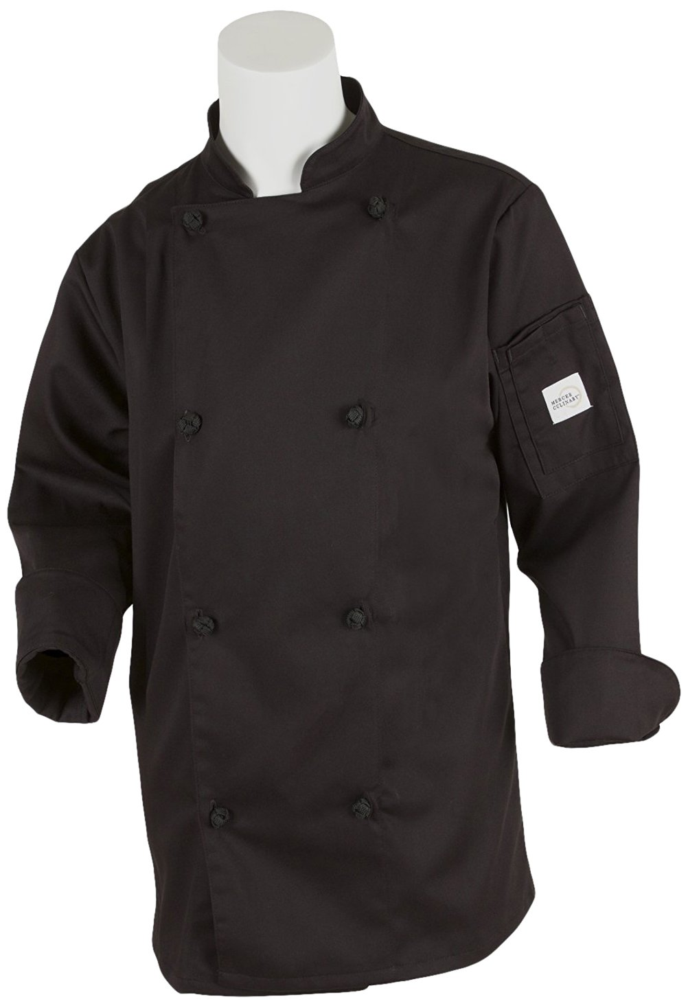 Mercer Culinary M61040BK1X Genesis Women's Chef Jacket with Cloth Knot Buttons, X-Large, Black by Mercer Culinary
