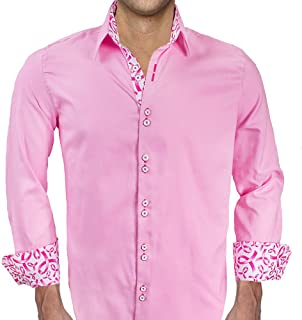 product image for Men's Pink Breast Cancer Designer Dress Shirts - Made in USA