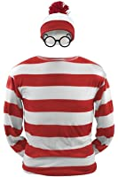 Costhat Where's Waldo Now Shirt Costume Adult Funny Sweatshirt Hoodie Outfit Glasses Hat Shirt Suits