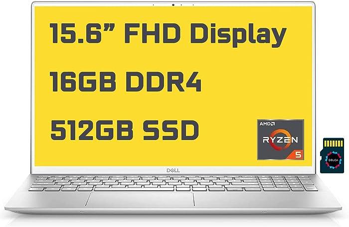 "2021 Dell Inspiron 15 5000 5505 Premium Business Laptop I 15.6"" FHD I AMD 6-Core Ryzen 5 4500U(>i7-10710U) I 16GB DDR4 512GB SSD I Backlit Fingerprint Wifi6 USB-C Win10 + Delca 32GB MicroSD Card"