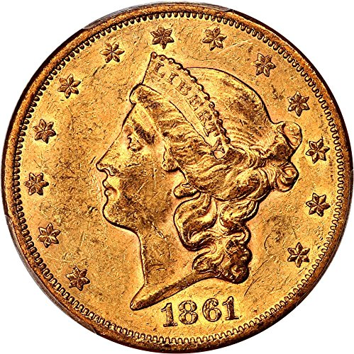 1861 P $20 Liberty Gold Twenty Dollar AU55 PCGS\CAC - 1861 Gold Dollar
