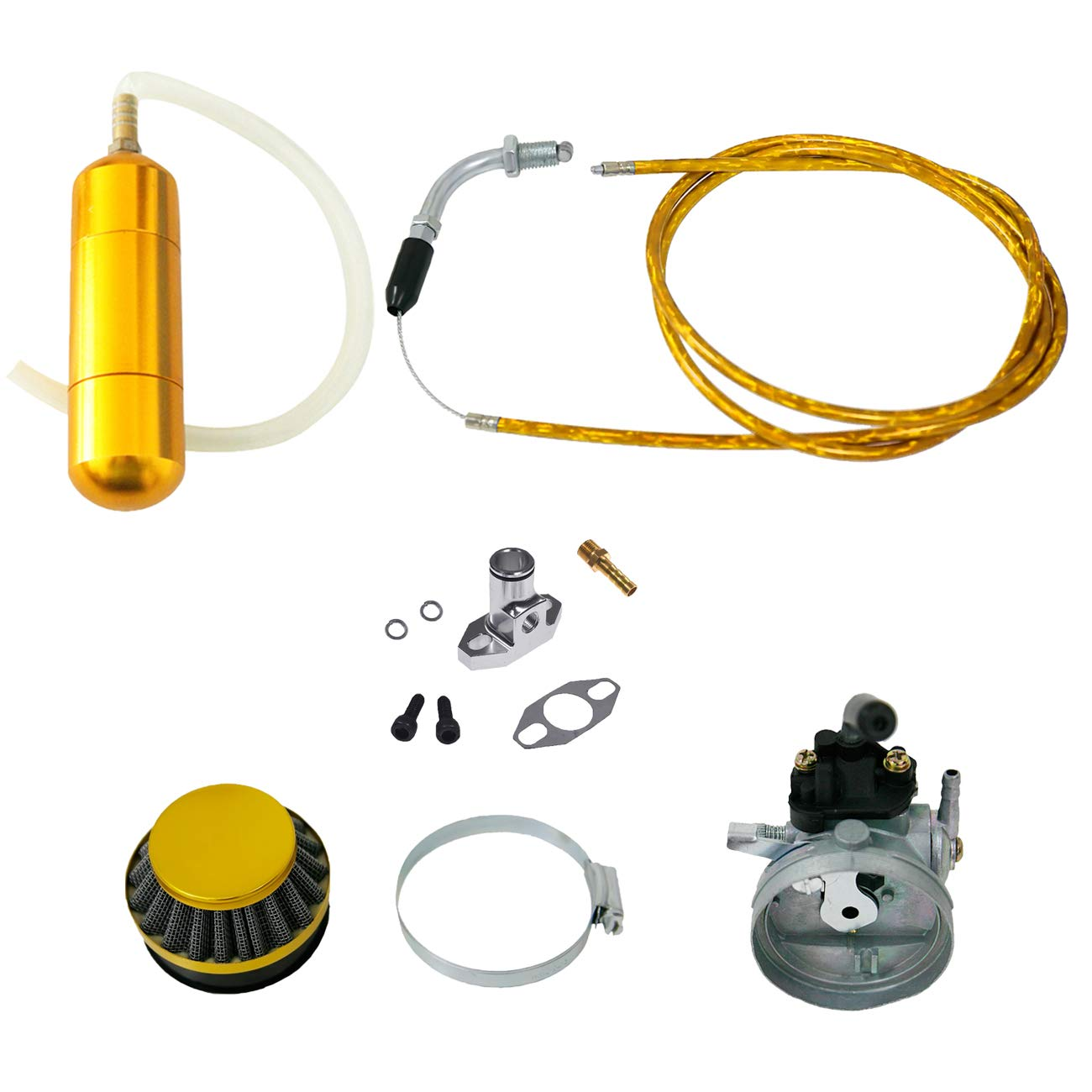 NORTHTIGER Yellow Carburetor&Power Boost Bottle&Air Filter Fit 49/60/66/80cc Motorized Bike