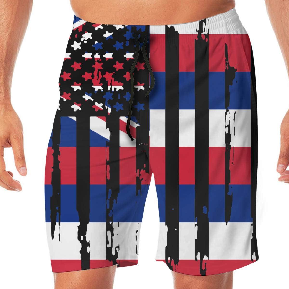 Mens Abstract American Hawaii State Flag Boardshorts Beach Pants No Mesh Lining