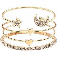 Shining Diva Fashion 11 Latest Designs Crystal Multilayer Stylish 3-5 pcs Set Charm Bracelets for Women and Girls