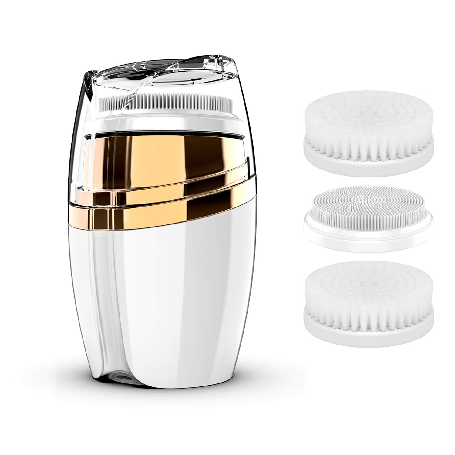 COOFO Electric Facial Cleanser Brush Rechargeable Sonic Face Cleansing Brush Waterproof with 3 Facial Brush Heads 3 Modes Vibrating