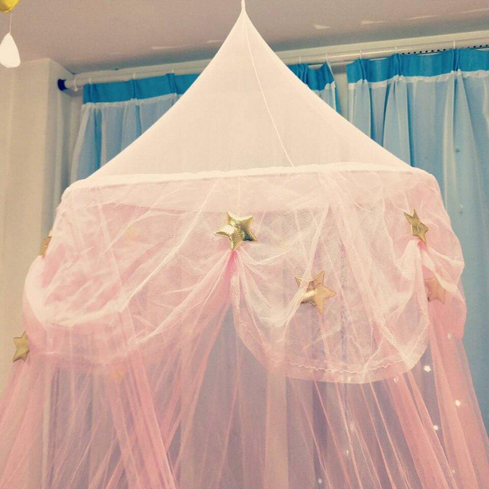 65cmx250cm laamei Dosel para Camas Infantiles Mosquitera para Cama Princesa Cuna de Beb/és Infantil Habitaci/ón Cortina con C/úpula Redonda Dosel Algod/ón 2