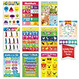 Educational Preschool Posters for Toddlers and Kids Perfect for Children Preschool & Kindergarten Classrooms Teach Alphabet Letters Numbers Weather Days of the Week Emotions Month of the Year and More