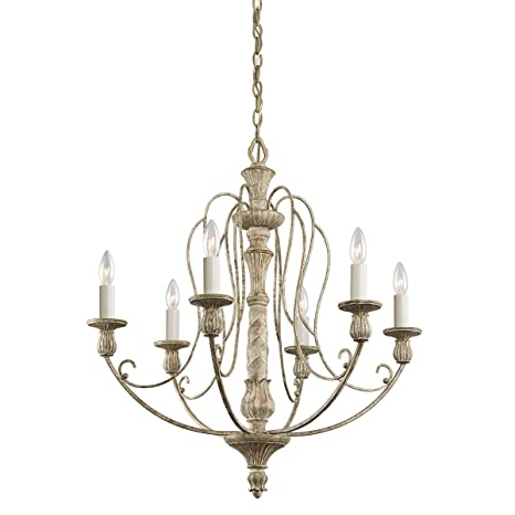 Chandeliers 6 Light With Distressed Antique White Finish Candelabra Bulb 27  inch 360 Watts - Chandeliers 6 Light With Distressed Antique White Finish Candelabra