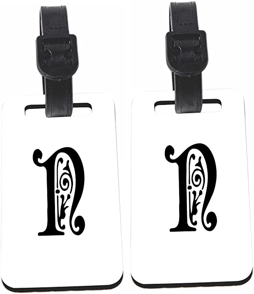 Calligraphy Monogram Letter N Design Luggage Identifier With Strap X4