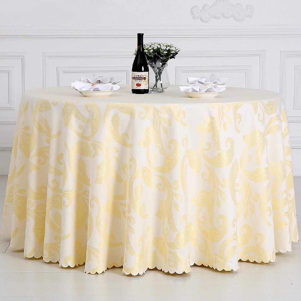 QYM テーブルクロス、綿クリーム色ラウンドテーブルクロスユニークなパーティーディナーテーブル、レストラン、カフェ、ホテルに最適、ヨーロッパ式 (サイズ : Rond-380cm) Rond-380cm  B07RTBYMJM