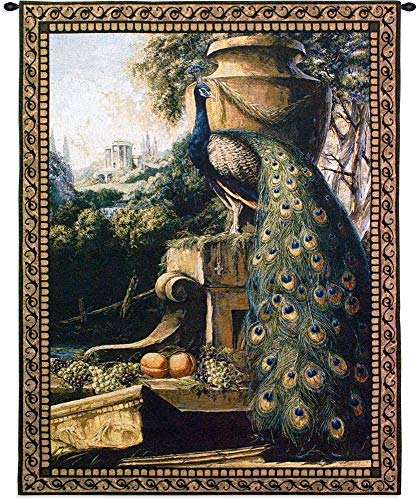 Un Paradise in Terra Woven Tapestry Wall Art Hanging Vivid Posing Peacock 100 Cotton USA Size 53×40