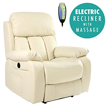 CHESTER ELECTRIC HEATED LEATHER MASSAGE RECLINER CHAIR SOFA GAMING HOME  ARMCHAIR (Cream): Amazon.co.uk: Kitchen U0026 Home
