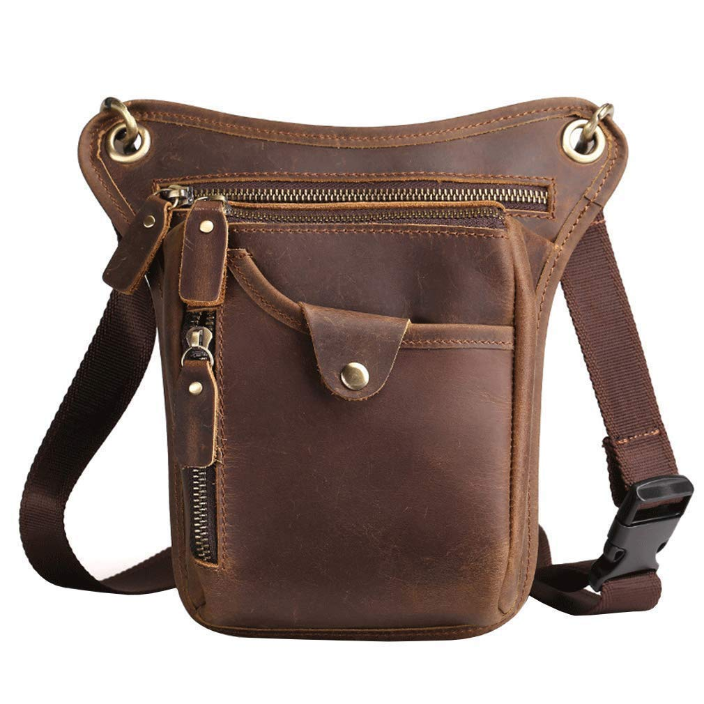 Vintage Leather Leg Bag Motorcycle Bike for Men Women Crossbody Outdoor Sports Drop Waist Fanny Pack Multi-Pockets Pouch Travel Hunting Hiking Camping Climbing Brown by Hebetag
