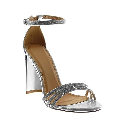 Angkorly Zapatillas Moda Sandalias Correa de Tobillo Mujer Strass Multi-Correa Tacón Ancho Alto 10 cm: Amazon.es: Zapatos y complementos