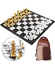 Peradix Chess Board Set with Board Inc. - Quality Chess and Checkers Pieces - Perfect 2 in 1 Multifunctional Magnetic Travel Chess Set for Kids Adults - 35.6 x 35.6 CM