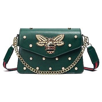 d8e8b76ddec1f XXJY Mini-Tasche Handtasche Sommer Handtaschen Leder Gesteppte Verzierte  Kette Tasche Schultertasche Bienen Und Perlen