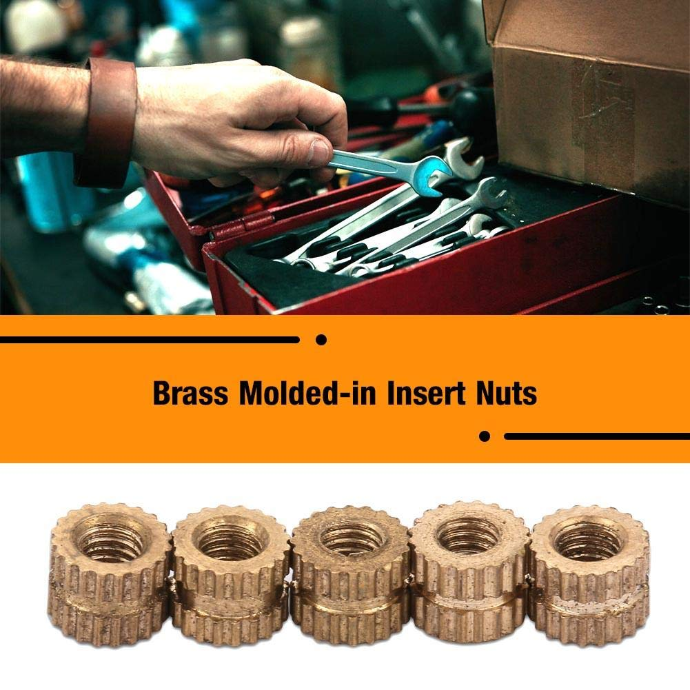 Inserto de lat/ón M3 * 5 * 5.3 (50 piezas) 50 piezas M3 Cilindro de lat/ón moleteado redondo inserto moldeado tuercas integradas
