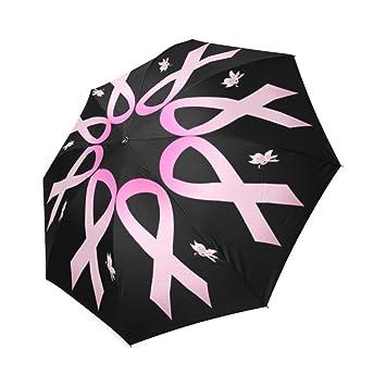 Artsbaba Umbrella Cancer Pink Ribbon Rain Umbrella Foldable UV Protection Umbrella Compact Travel Umbrella
