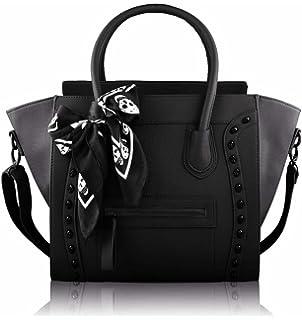 Amazon.com: Womens Designer Faux Leather Celebrity Style Studded ...