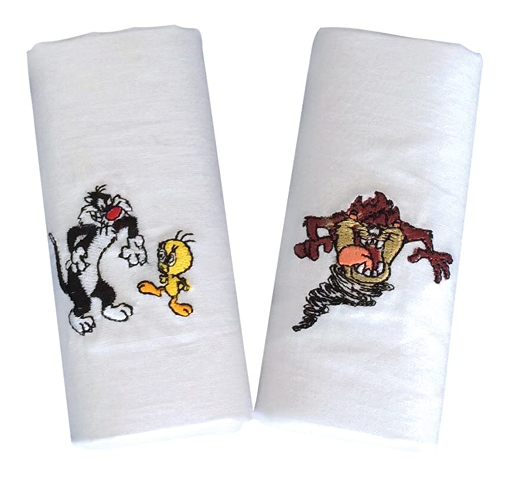 Men's Novelty Embroidered 100% Cotton Handkerchiefs (Pack of two)