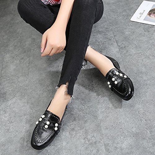 de Mujer Suave De Perla Cuero Zapatos De Zapatos Y Black De De Mujer Zapatos Aliento Sin El Cuero Treinta Negro Pretty Seis Verano Becerro KPHY EvqYOO
