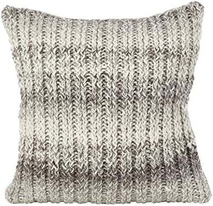 SARO LIFESTYLE Hand Knit Ombre Design Wool Down Filled Throw Pillow, 18 x 18 Square, Natural